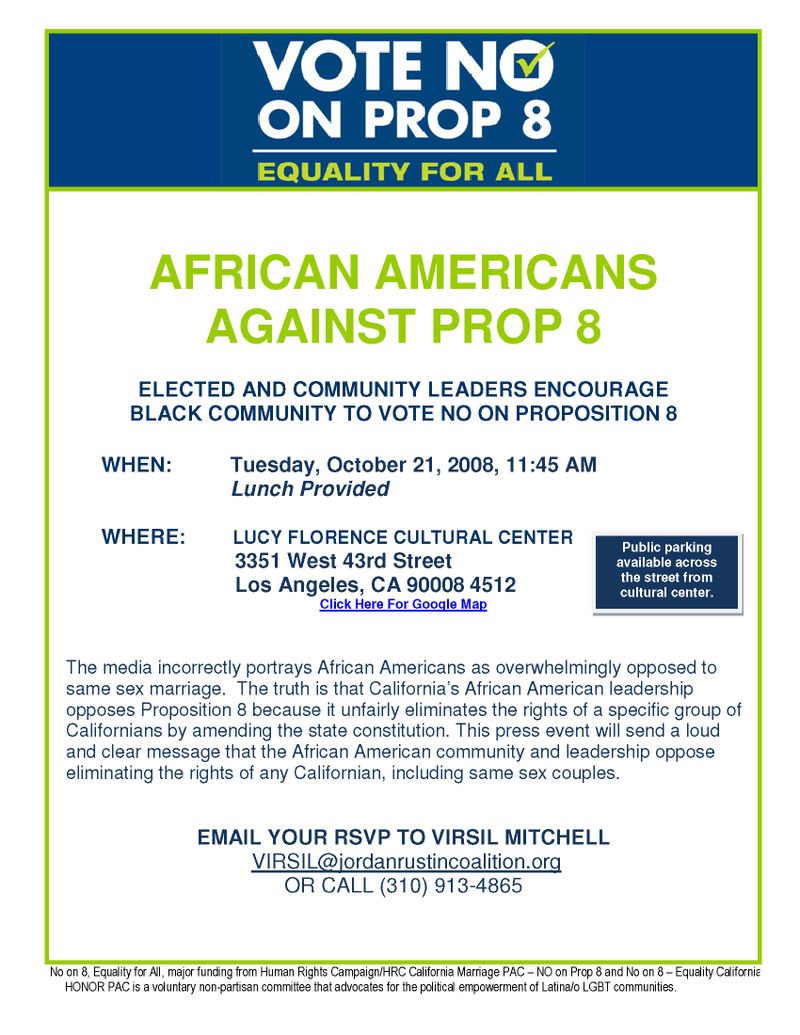 African American No on 8 Press Event Tues Oct 21