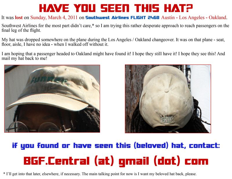 Lost Hat! Help!